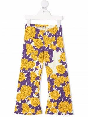Расклешенные брюки с цветочным принтом Mini Rodini. Цвет: желтый