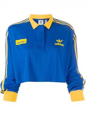 Укороченная рубашка поло adidas. Цвет: синий