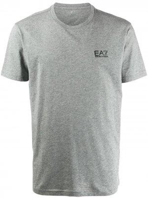 Футболка с вышитым логотипом Ea7 Emporio Armani. Цвет: серый