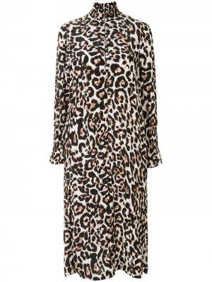 Платье-рубашка Aeverie с леопардовым принтом Baum Und Pferdgarten. Цвет: черный