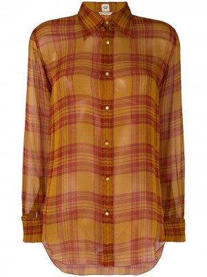 Рубашка в клетку Hermès. Цвет: желтый