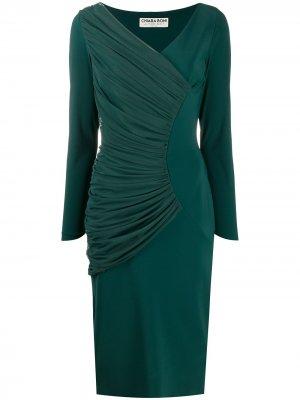 Платье миди Waleska Illusion со сборками Le Petite Robe Di Chiara Boni. Цвет: зеленый