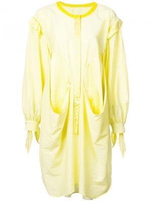 Платье-рубашка оригинального кроя Tsumori Chisato. Цвет: желтый