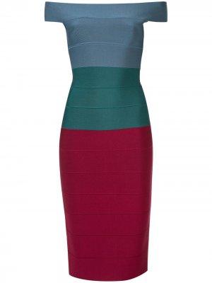 Приталенное платье со вставками Hervé Léger. Цвет: разноцветный
