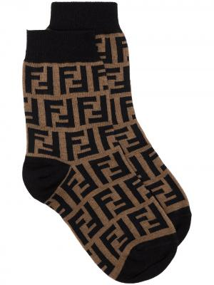 Носки с логотипом FF Fendi. Цвет: коричневый
