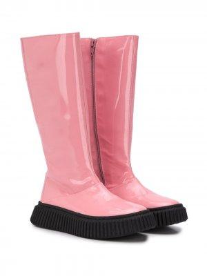 Резиновые сапоги на контрастной подошве Marni Kids. Цвет: розовый