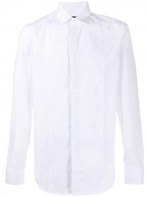 Рубашка с длинными рукавами и потайной застежкой Emporio Armani. Цвет: белый