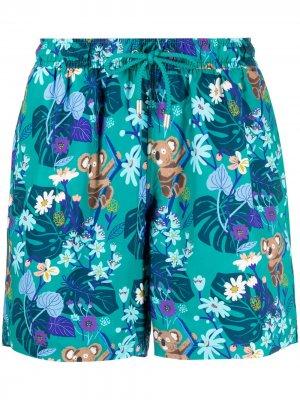 Плавки-шорты с кулиской и принтом Bluemint. Цвет: зеленый