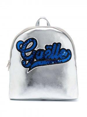Рюкзак с пайетками и логотипом Gaelle Paris Kids. Цвет: серебристый