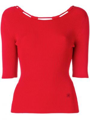 Трикотажная блузка в рубчик Carven. Цвет: красный