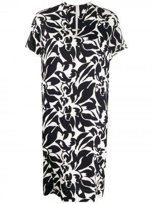 Платье-трапеция с цветочным принтом Escada. Цвет: черный
