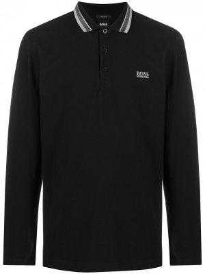 Рубашка поло с длинными рукавами и логотипом BOSS. Цвет: черный