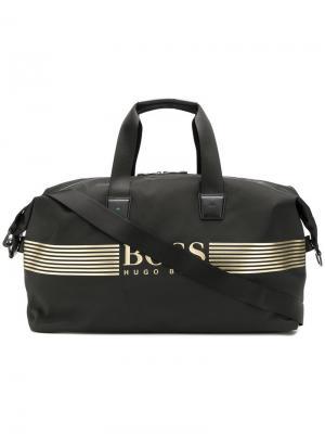 Дорожная сумка с аппликацией логотипа Boss Hugo. Цвет: черный