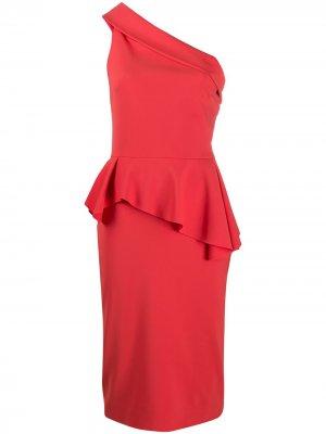 Платье на одно плечо с драпировкой Le Petite Robe Di Chiara Boni. Цвет: оранжевый