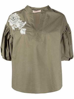 Блузка с цветочной вышивкой TWINSET. Цвет: зеленый
