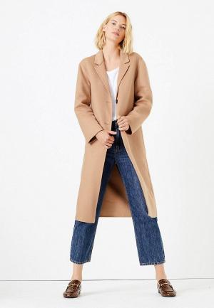 Пальто Marks & Spencer. Цвет: бежевый