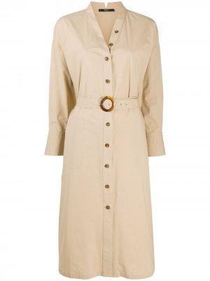 Платье-рубашка на пуговицах Seventy. Цвет: коричневый