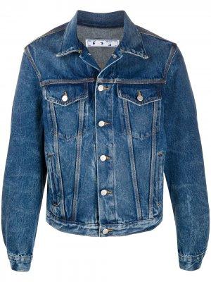 Джинсовая куртка с графичным принтом Off-White. Цвет: синий