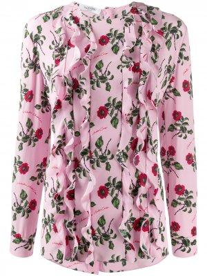 Блузка с оборками и цветочным принтом Valentino. Цвет: розовый