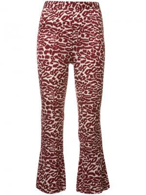 Укороченные брюки с принтом Piamita. Цвет: красный