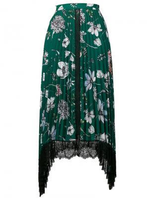 Floral print pleated skirt Ki6. Цвет: зеленый