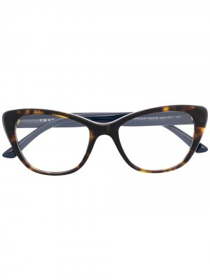 Очки в оправе кошачий глаз черепаховой расцветки Prada Eyewear. Цвет: коричневый