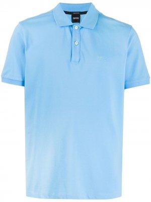 Рубашка поло с вышитым логотипом Boss Hugo. Цвет: синий