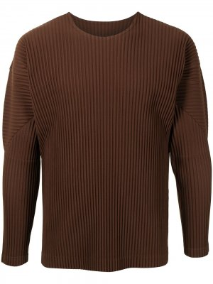 Плиссированный пуловер с круглым вырезом Homme Plissé Issey Miyake. Цвет: коричневый