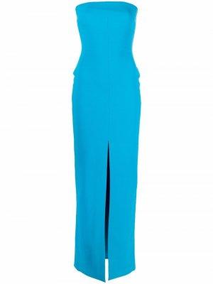 Платье Bysha с разрезом Solace London. Цвет: синий