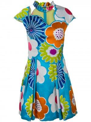 Платье с рукавами-кап цветочным принтом Talbot Runhof. Цвет: синий