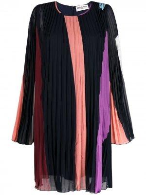 Плиссированное платье-трапеция в полоску Essentiel Antwerp. Цвет: синий
