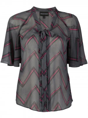 Блузка с завязками и узором зигзаг Emporio Armani. Цвет: серый