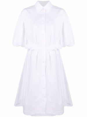 Платье-рубашка миди с драпировкой Simone Rocha. Цвет: белый