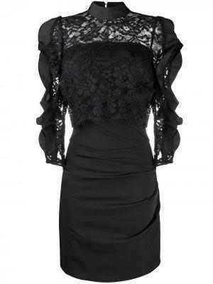 Платье мини с кружевом Elisabetta Franchi. Цвет: черный