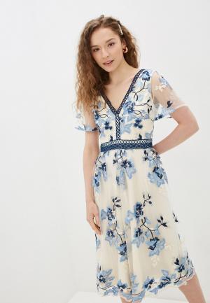 Платье Chi London. Цвет: белый