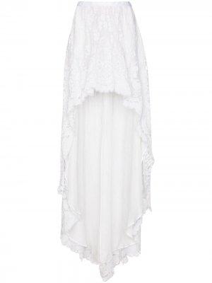 Кружевная юбка макси Halsey асимметричного кроя LoveShackFancy. Цвет: белый