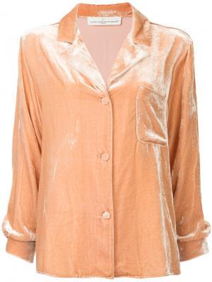 Бархатная пижамная рубашка Golden Goose Deluxe Brand. Цвет: розовый