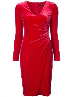 Приталенное платье с присборенной отделкой Black Halo. Цвет: красный