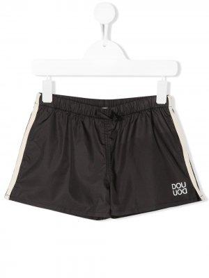 Плавки-шорты с лампасами Douuod Kids. Цвет: черный