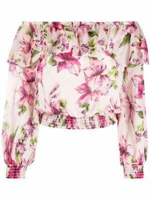 Блузка с открытыми плечами и цветочным принтом LIU JO. Цвет: розовый