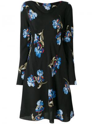 Расклешенное платье мини с цветочным принтом Sportmax. Цвет: черный