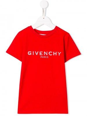Футболка с логотипом Givenchy Kids. Цвет: красный