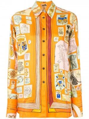 Рубашка с принтом Hermès. Цвет: оранжевый