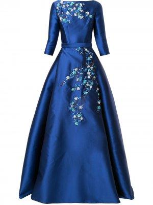 Длинное платье с цветочной аппликацией Carolina Herrera. Цвет: синий