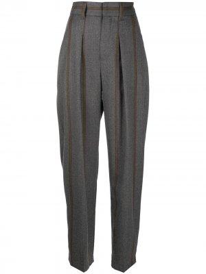 Зауженные брюки в полоску Brunello Cucinelli. Цвет: серый