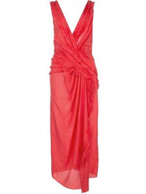 Платье миди с драпировкой Jason Wu Collection. Цвет: красный