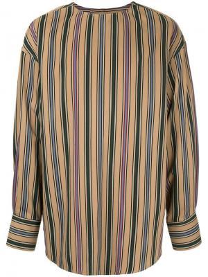 Рубашка без воротника в полоску Wooyoungmi. Цвет: коричневый