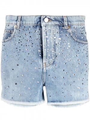 Джинсовые шорты с кристаллами Alexandre Vauthier. Цвет: синий