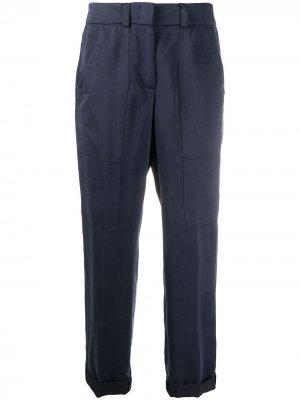 Зауженные брюки с подворотами Peserico. Цвет: синий