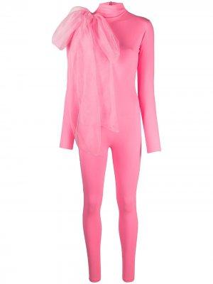 Облегающий комбинезон с бантом Atu Body Couture. Цвет: розовый